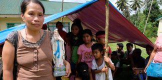 Blessed Virgin Mary in evacuation center