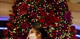 Masked Christmas shopper