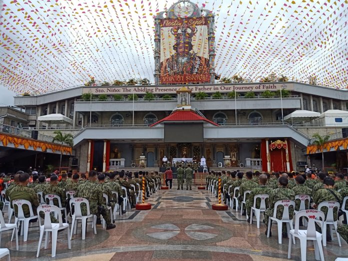 Frontliners gather at the Basilica Minore del Sto. Nino Pilgrim's Center during the sendoff Mass after the announcement of the cancellation of major physical activities during the Sinulog festival on Jan. 7. (Photo courtesy of the BMS Media Unit)