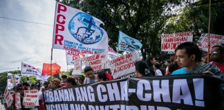 Church and activist groups stage a demonstratio in January 2018 against moves to revise the Philippine Constitution. (File photo by Mark Saludes)