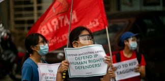 Activists call for respect for human rights and for an end to attacks on activists during a demonstration in Manila in 2020. (File photo by Mark Saludes)