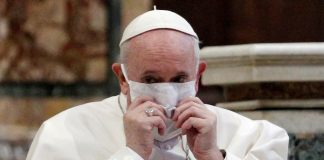 Pope Francis wearing a face mask attends an inter-religious prayer service for peace along with other religious representatives in the Basilica of Santa Maria in Aracoeli, a church on top of Rome's Capitoline Hill, in Rome, Italy, Oct. 20, 2020. (Reuters file photo)