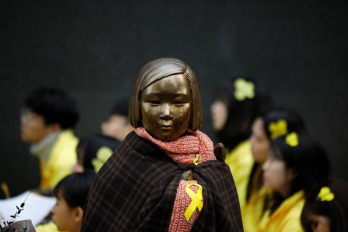 A statue symbolizing former South Korean 'comfort women' is seen during an anti-Japan rally on the day of the 98th anniversary of the Independence Movement Day in Seoul, South Korea, March 1, 2017. (Photo by Kim Hong-Ji/Reuters)