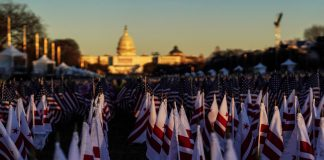 "A close-up view shows the ""Field of Flags"" on the National Mall ahead of inauguration ceremonies for U.S. President Joe Biden in Washington, D.C., Jan. 19, 2021. (Photo by Allison Shelley / Reuters)"