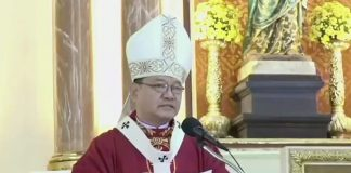 Archbishop Ricardo Baccay speaks after receiving the pallium during Mass at the St. Peter Metropolitan Cathedral in Tuguegarao City on Jan,. 14, 2021. (Photo courtesy of the Archdiocese of Tuguegarao)