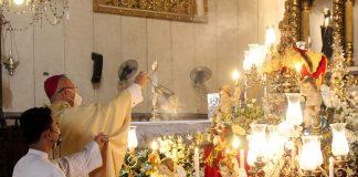 Archbishop Jose Palma celebrates Mass on the Feast of the Sto. Niño at the Basilica Minore del Sto. Niño in Cebu City on Jan. 17, 2021. (Photo by Sammy Navaja/CBCP News)