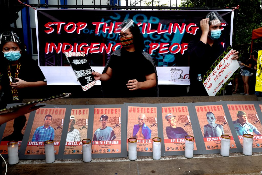 Activists stage a demonstration outside the National Council of Churches in the Philippines building in Quezon City on Sunday, Jan. 17, 2021, to condemn the killings and arrest of members of the Tumandok tribe in the central Philippines in December. (Photo by Gil Nartea)