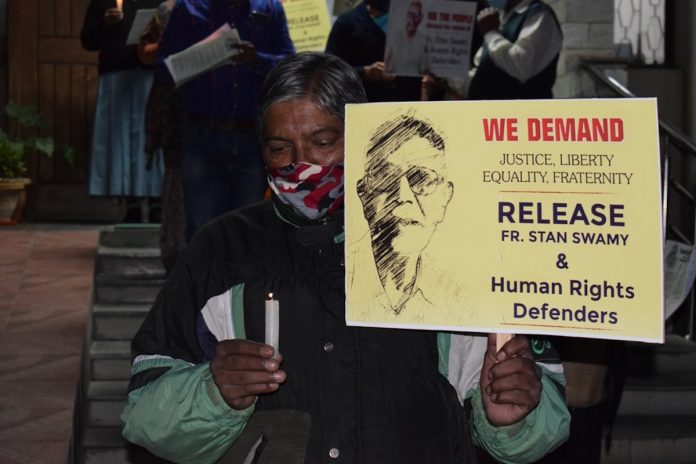 National vigil for imprisoned Father Stanislaus Lourduswamy SJ, popularly known as Stan Swamy in New Delhi on Nov. 26, 2020 Constitution Day. (Photo supplied)