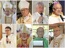 Church leaders from the central Philippines who signed the pastoral letter (from left top): Cardinal Jose Advincula of Capiz, Archbishop Jose Lazo of Jaro, Bishop Patricio Buzon of Bacolod, Bishop Gerardo Alminaza of San Carlos, Bishop Louie Galbines of Kabankalan, Bishop Jose Corazon Tala-oc of Kalibo, and Bishop Narciso Abellana of Romblon. (Photo courtesy of CBCP News)