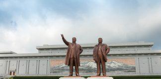 Bronze sculptures of North Korean despots Kim Il-sung and Kim Jong-il in Pyongyang. (Photo by Piu Piu/shutterstock.com)